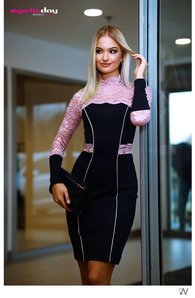 Arabella sötétkék rózsaszín csipkés ruha - Cool Fashion 4aad15c62f