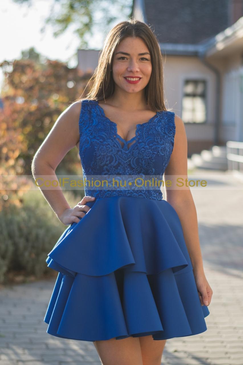 2fodros csipkés kék loknis ruha - Cool Fashion 38f626bf4d