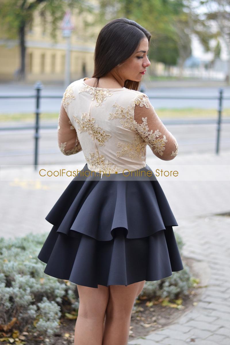 2 fodros loknis ruha csipkes ujjú merryl arany fekete kék efa4887ea2