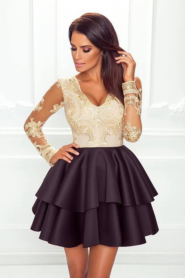 2 fodros h.ujjú arany fekete loknis ruha - Cool Fashion 34088dfba1