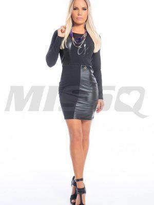 fekete bőrbetétes ruha missq