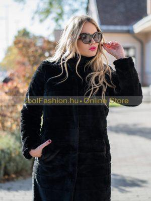 fekete hosszú midi bunda debrecen