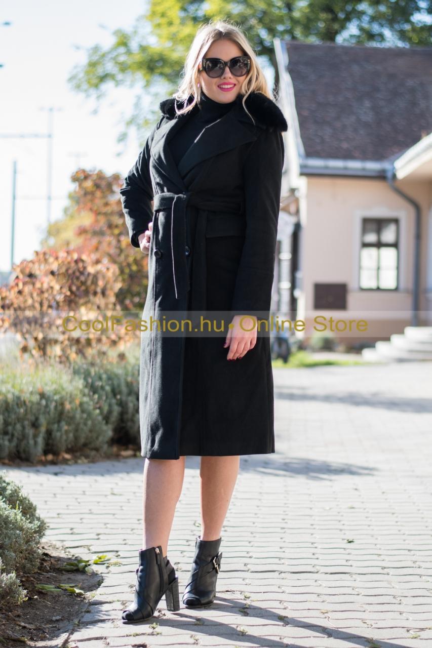fekete és drapp szőrmés midi szövet kabát debrecen 29fe674086