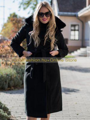 fekete és drapp szőrmés midi szövet kabát debrecen