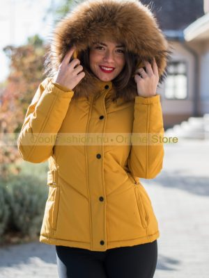 Mustár rókaszőrmés kabát 1c15b410ec