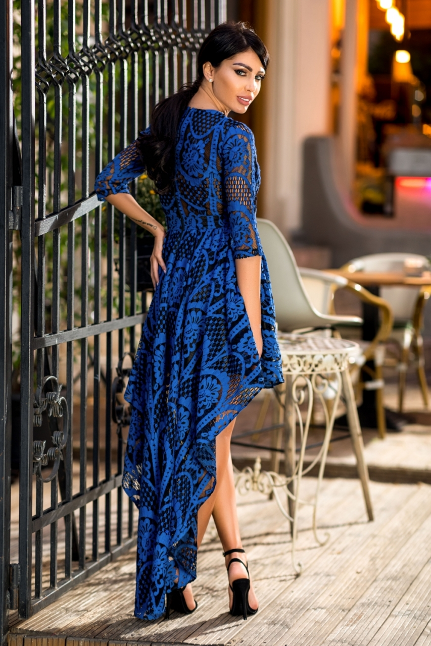 Kék fekete csipkés elől rövid maxi ruha - Cool Fashion 9c8ce30026