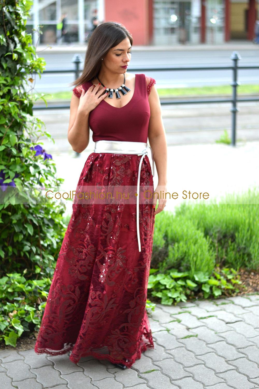 80e096551c Bordó csipkés/flitteres tüllös maxi ruha - Cool Fashion