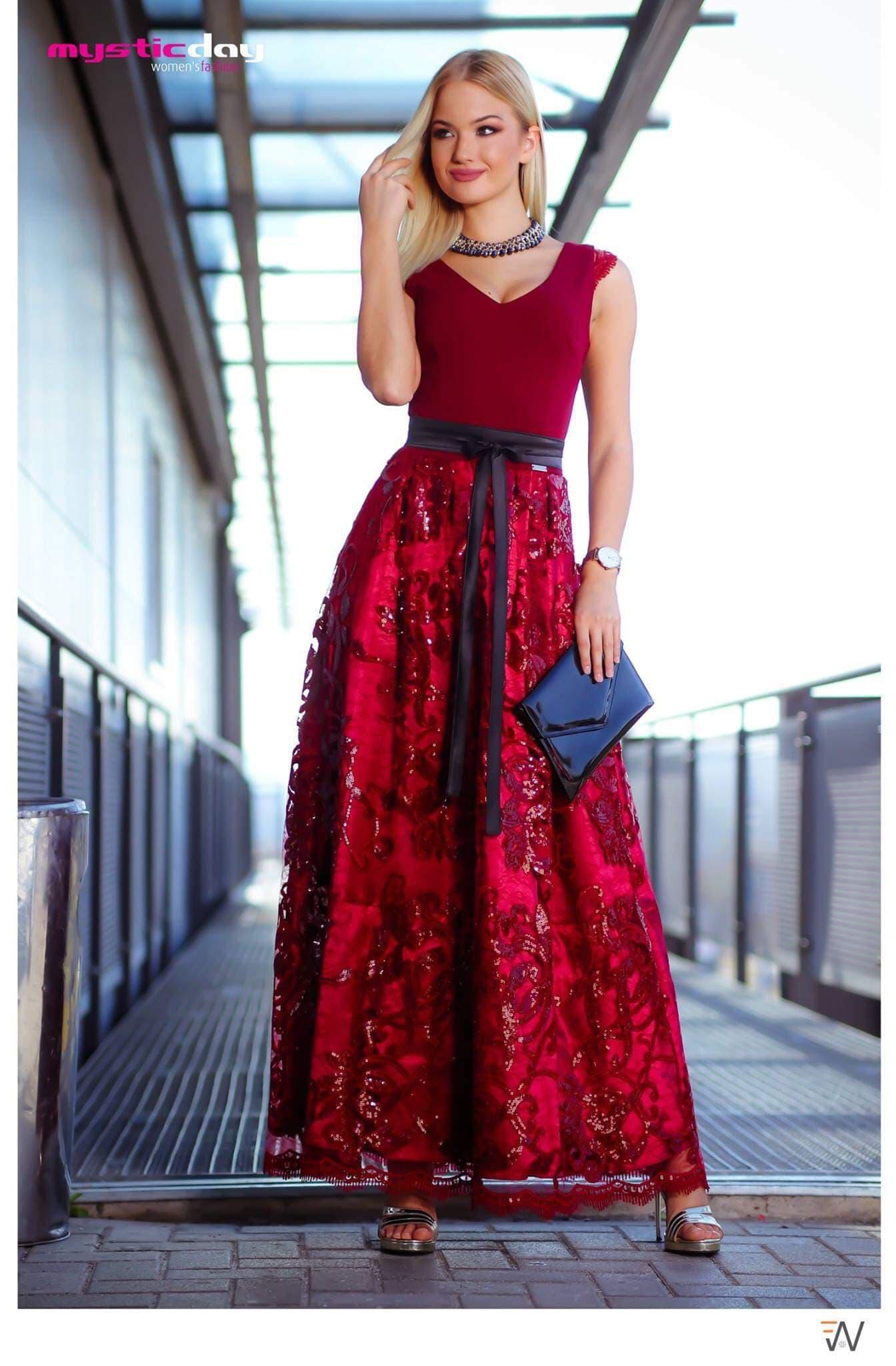 Bordó csipkés flitteres tüllös maxi ruha - Cool Fashion 94e4ae3909
