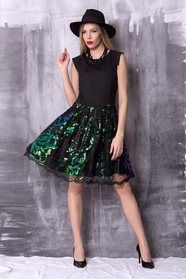 Fekete-zöld lurex csipkés flitteres tüllös loknis ruha - Cool Fashion f25eb12a04