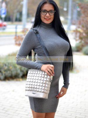 ezüst steppelt oldal táska nőbo