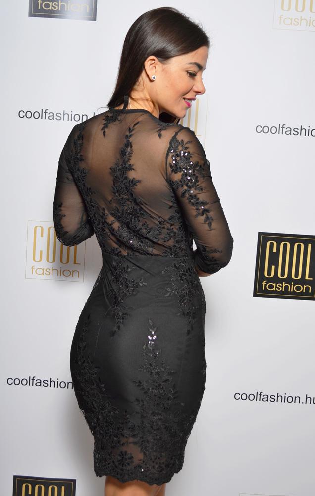 e2e85dbe05 Flitteres/csipkés dekoltált 3/4ujjú ruha - Cool Fashion