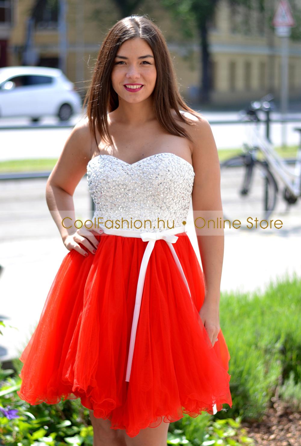 f2793ac422 Köves fehér-piros tüll ruha - Cool Fashion