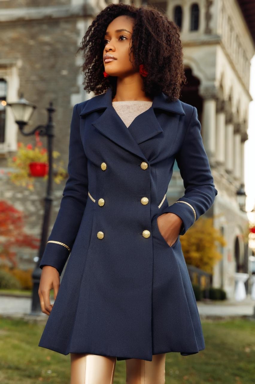 Sötétkék arany gombos szövet kabát - Cool Fashion b1501e19ea