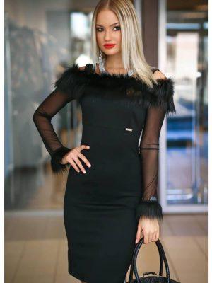 1742e3778e Fekete steppelt kötött pántos szőrmés vállú ruha