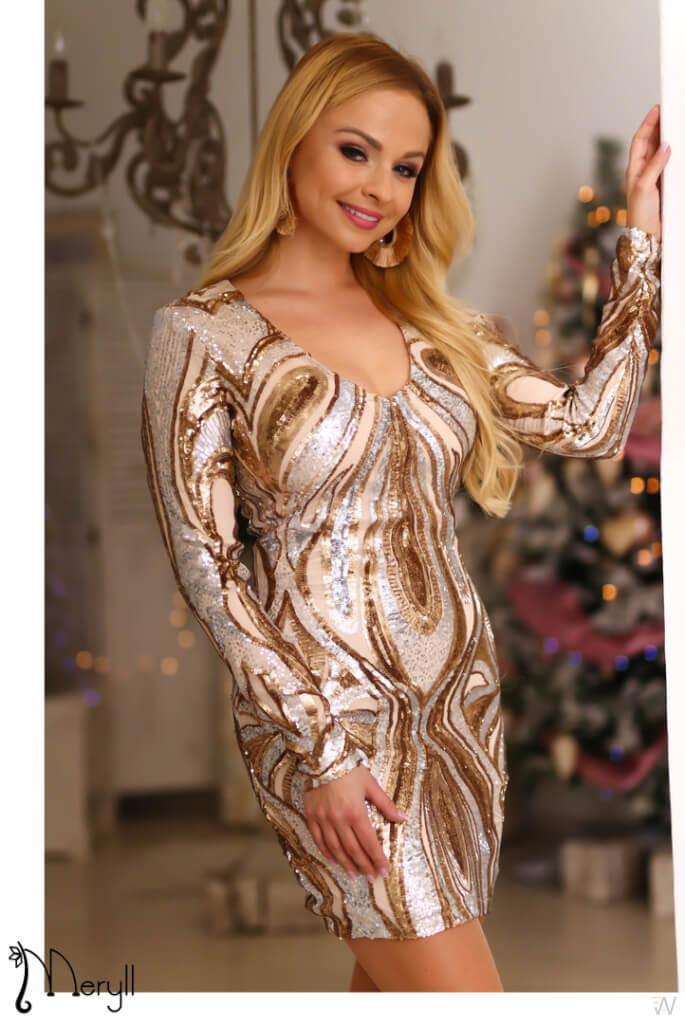 6ea6c15f96 Arany-ezüst mintás flitteres ruha - Cool Fashion