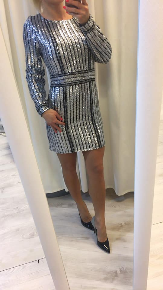 Ezüst-fekete láncos flitteres ruha - Cool Fashion fdf6d8d6e7