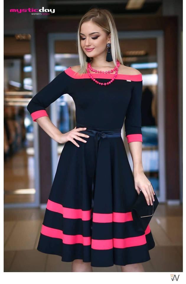 5179c5298d Ejtett vállú corall loknis ruha - Cool Fashion