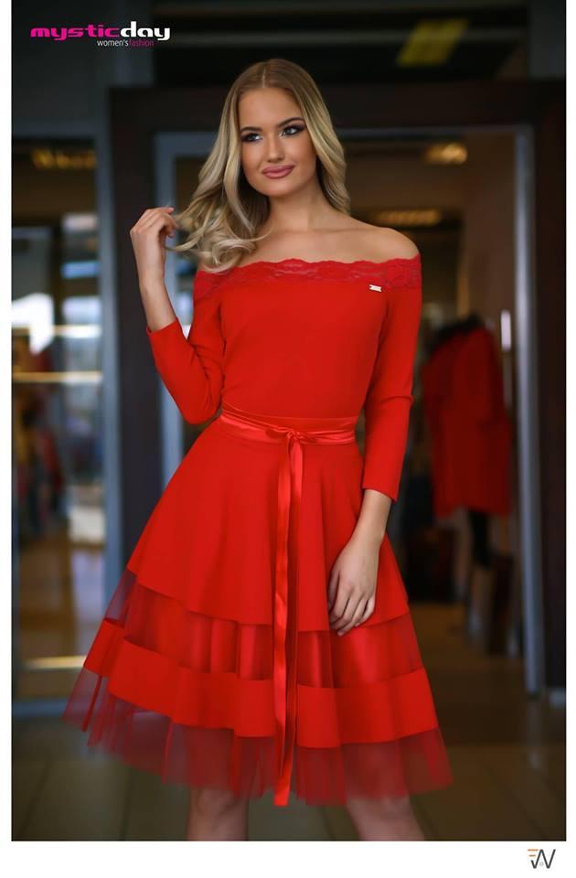 e981a04970 Piros csipkés vállú tüll loknis ruha - Cool Fashion