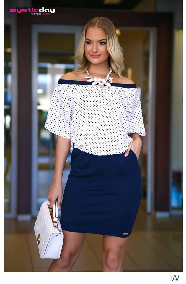 074878f901 Roxana pöttyös fehér buggyos ruha - Cool Fashion