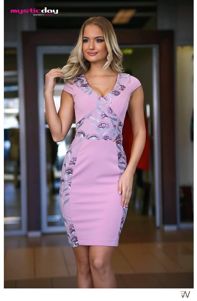 f60b7912d4 X-Tina mályva/ezüst virágos ruha - Cool Fashion
