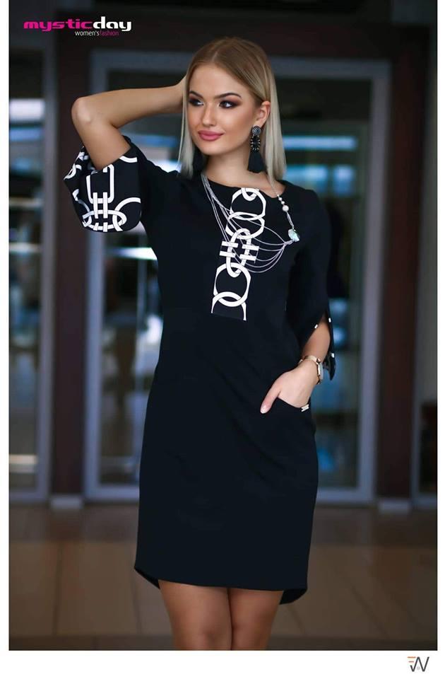 Bermuda tölcsér ujjú fekete-fehér ruha - Cool Fashion cf34dbb4aa