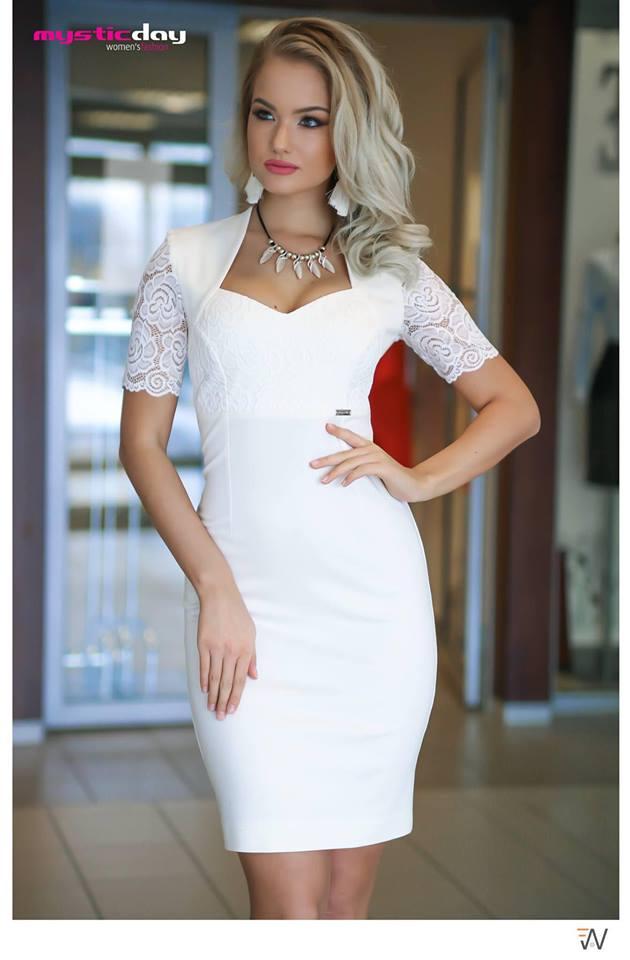 611420401a Cintia fehér csipkés ruha - Cool Fashion