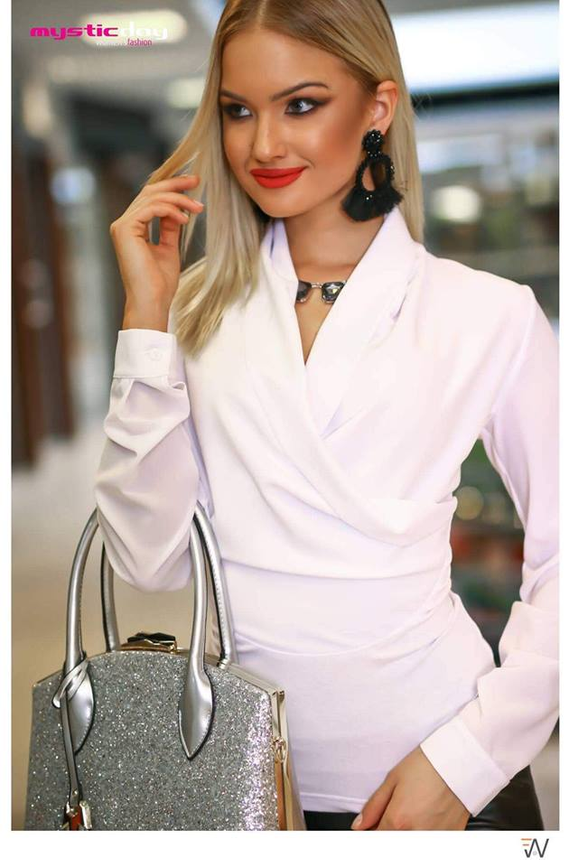 Fehér átlapolt blúz - Cool Fashion 214a946f74
