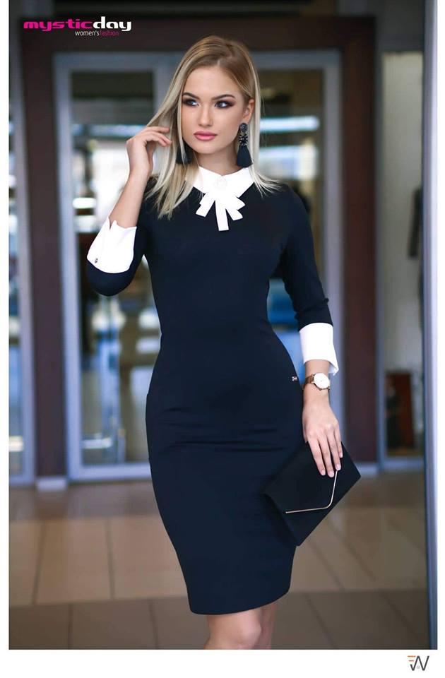 Kendra fekete-fehér galléros ruha - Cool Fashion e214e988df