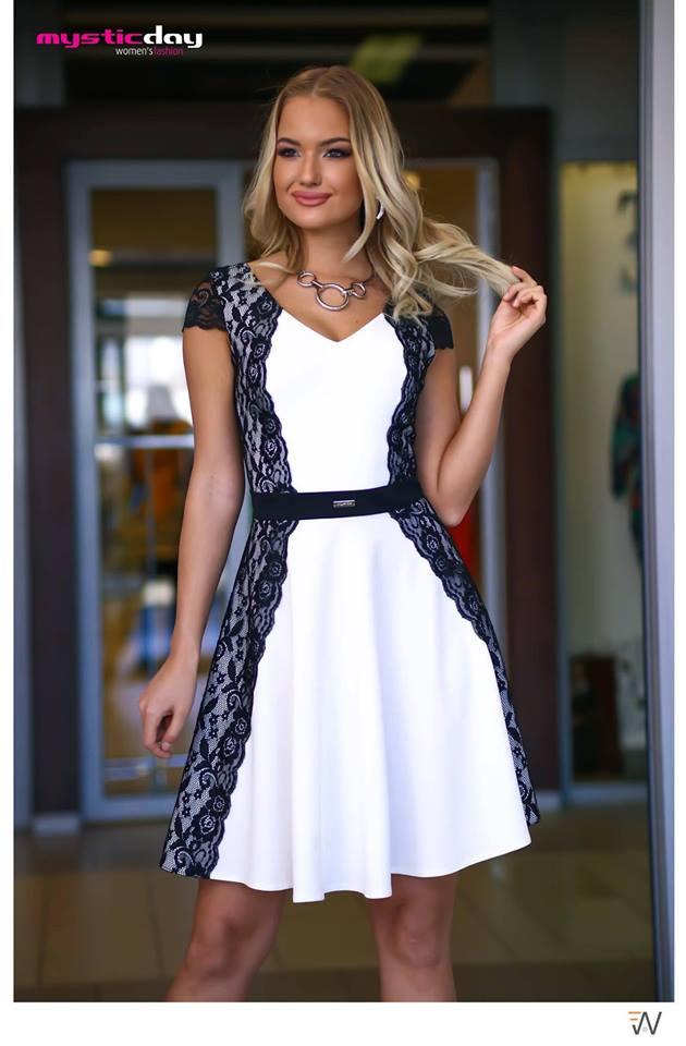 46326b3793 Oldalt csipkés fekete-fehér loknis ruha - Cool Fashion