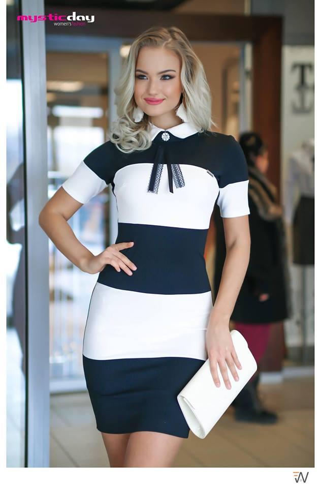 Rea csíkos galléros ruha - Cool Fashion 1e2ae5e3fa