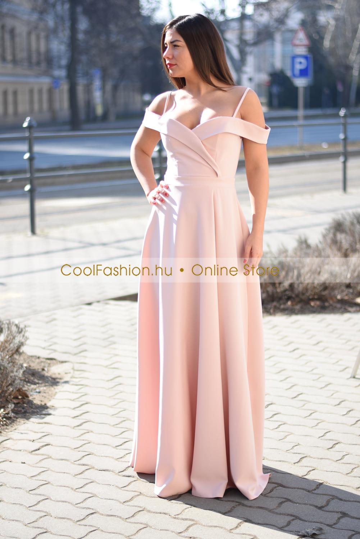 b7fc4f6cd4 Orchidea ejtett vállú vászon maxi ruha - Cool Fashion