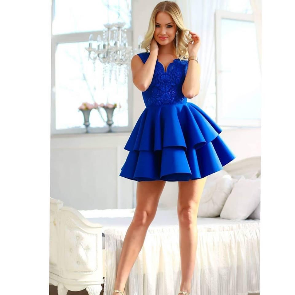 7e83a9170e 2fodros csipkés királykék loknis ruha - Cool Fashion