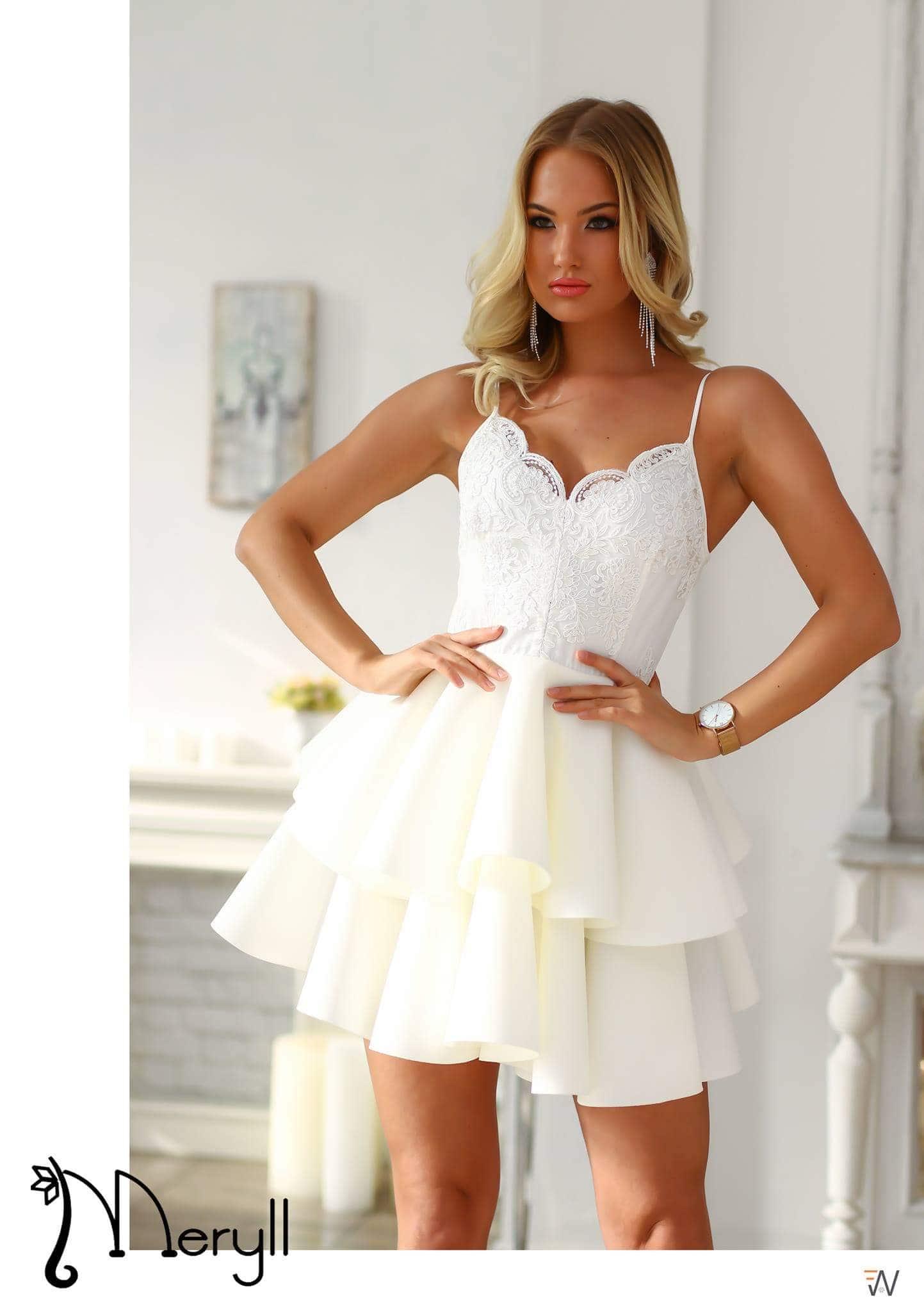 a150a12fc7 2 fodros fehér pántos loknis ruha - Cool Fashion