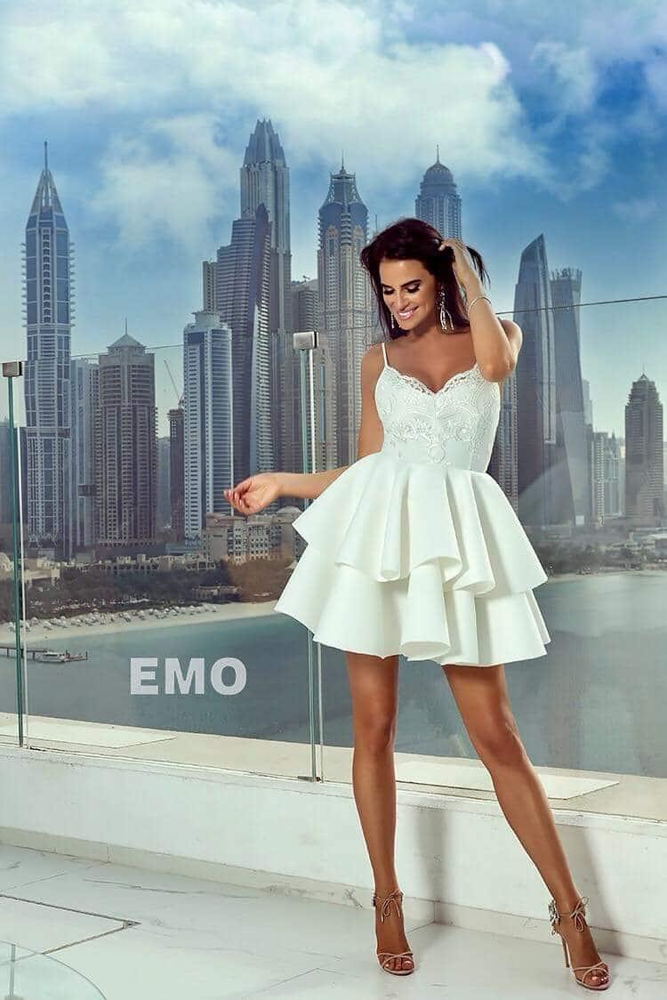 b96cab7bbb 2 fodros fehér pántos loknis ruha - Cool Fashion