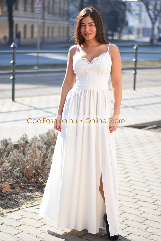 Fehér pántos csipkés maxi ruha - Cool Fashion 06ad4b28a3