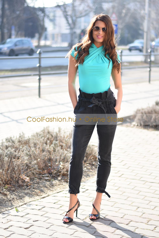 59ecd78023 Eszter fodros derekú fekete farmer nadrág - Cool Fashion