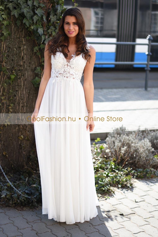 3af9c9e35f Csipkés gyöngyös fehér muszlin maxi ruha - Cool Fashion