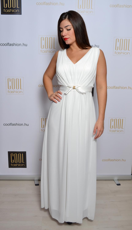 446f0887f1 Masnis fehér muszlin maxi ruha - Cool Fashion