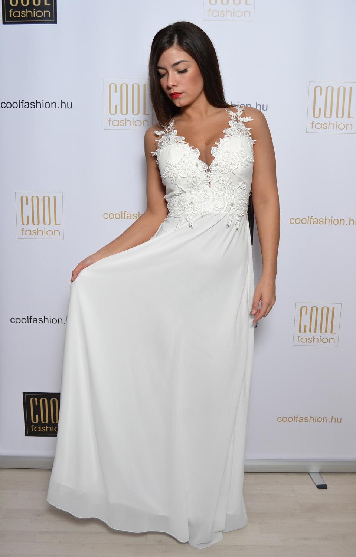 ef42a59a15 Otilia fehér-nude muszlin maxi ruha - Cool Fashion