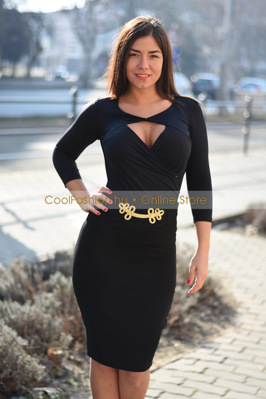 3171be44e5 Fekete arany mintás derekú szoknya - Cool Fashion