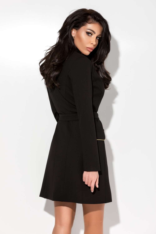 Fekete galléros zakós kabát - Cool Fashion eaf3793544