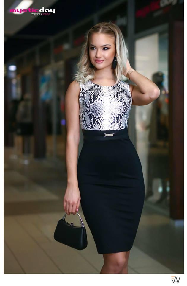 Habcukor barna-szürkés pitonmintás ruha - Cool Fashion 09496232b8