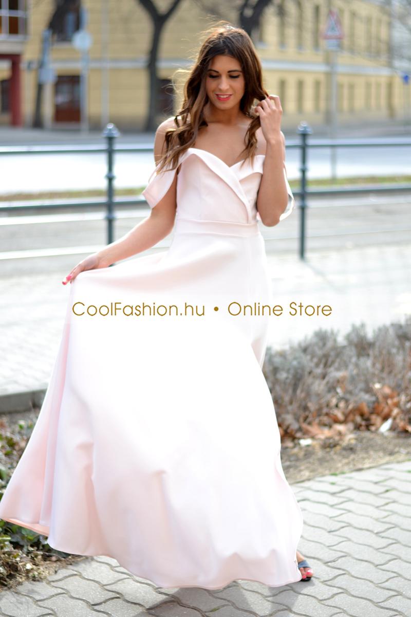 8940a8ad25 Orchidea ejtett vállú vászon maxi ruha - Cool Fashion