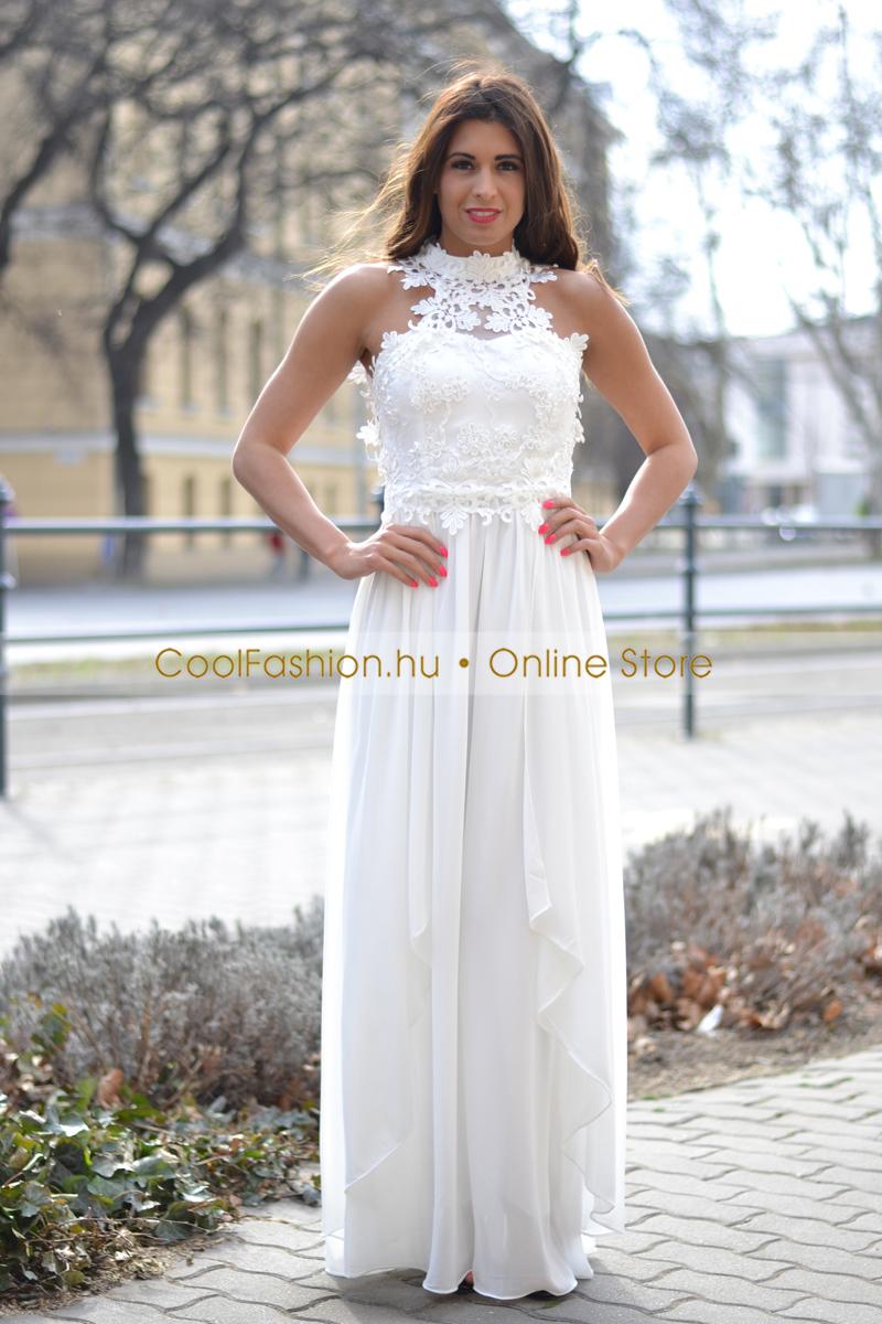 e6708ed04c Egyedi horgolt csipkés fehér muszlin maxi ruha - Cool Fashion