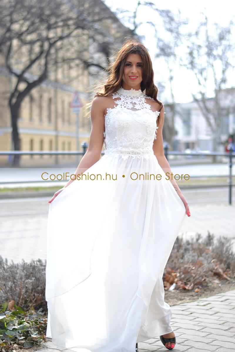 a11140fd3a Egyedi horgolt csipkés fehér muszlin maxi ruha - Cool Fashion