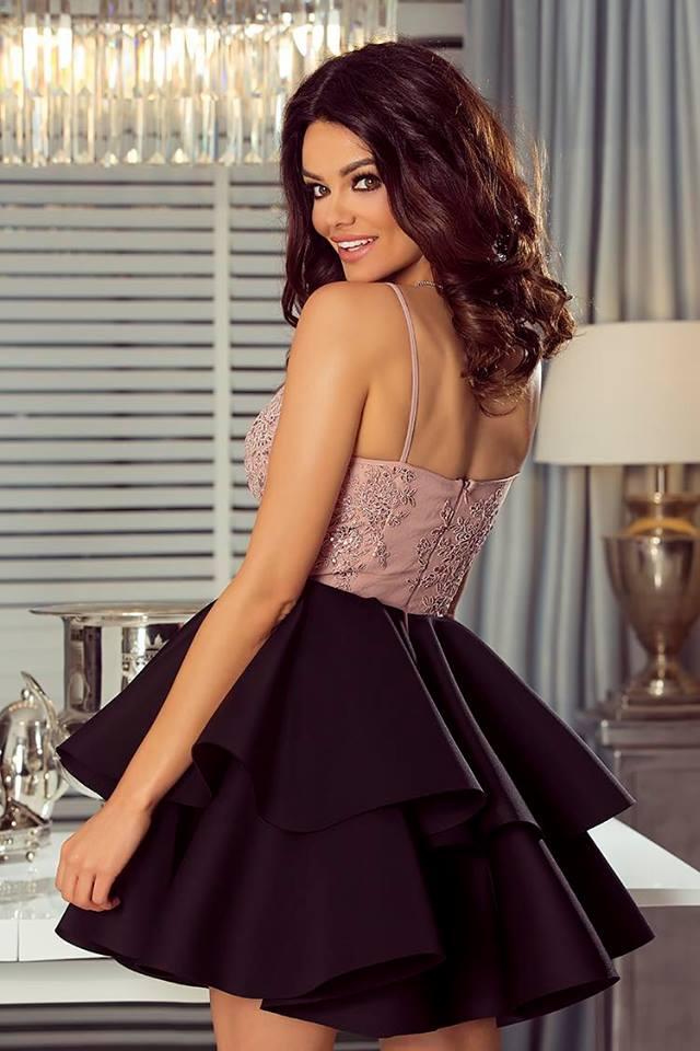 b410d7586b 2 fodros pántos fekete-mályva loknis ruha - Cool Fashion