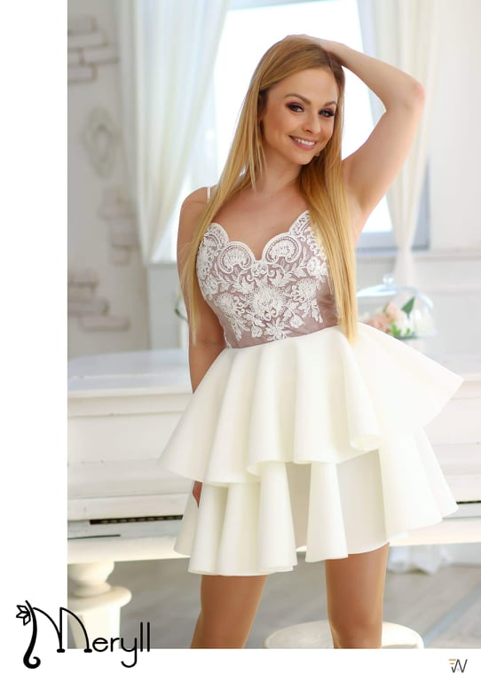 608ed9f6ce 2 fodros fehér-barna/camel pántos loknis ruha - Cool Fashion