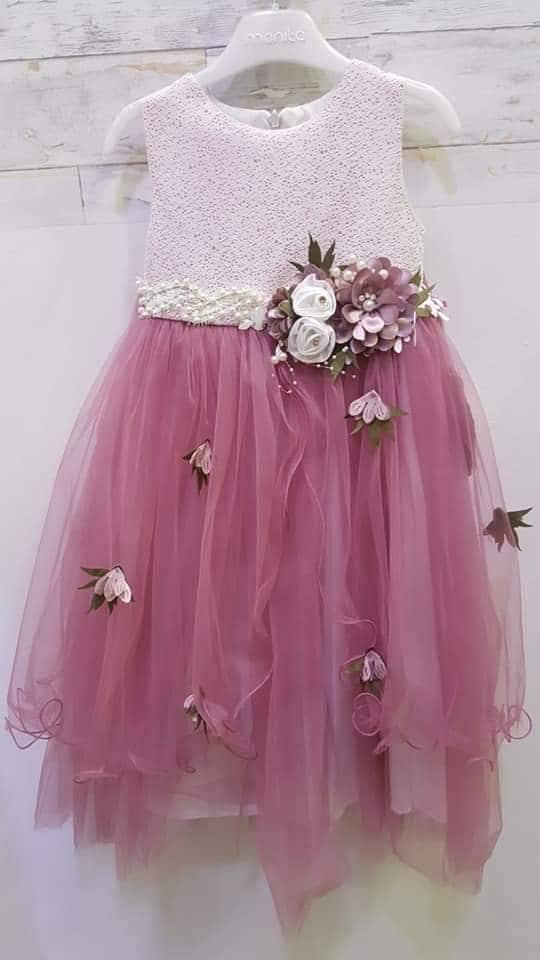 c4ad3399d3 Mályva lila tüllös virágos gyerekruha - Cool Fashion