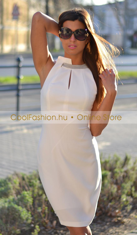 8ce38942ad Calore köves fehér vászon ruha - Cool Fashion