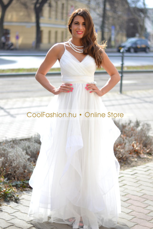 Hullám tüll fehér maxi ruha - Cool Fashion a895a3d9e1